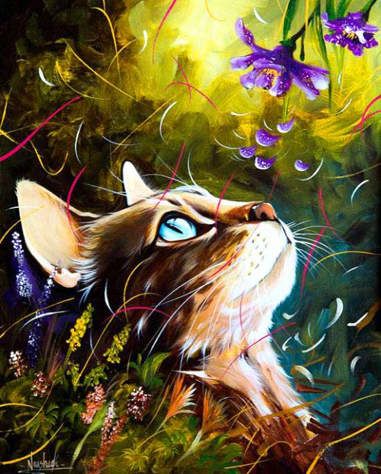 Картина по номерам 30x40 Кошечка под цветущими колокольчиками