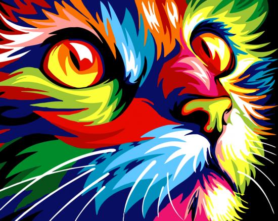 Картина по номерам 40x50 Поп-арт кошка