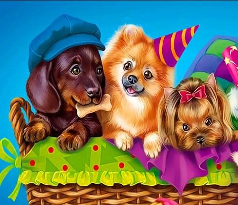 Картина по номерам 20x30 Весёлые щеночки в корзине