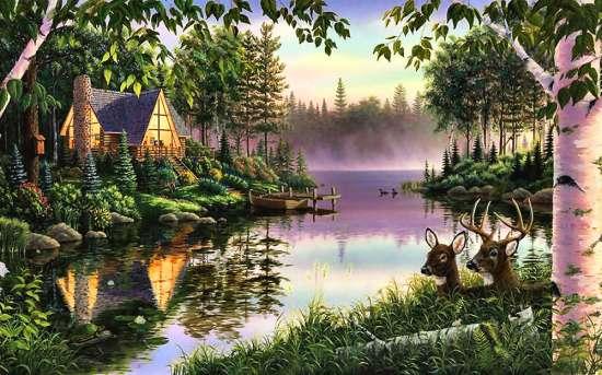 Алмазная вышивка 40х50 квадратная Дом на берегу чарующего озера